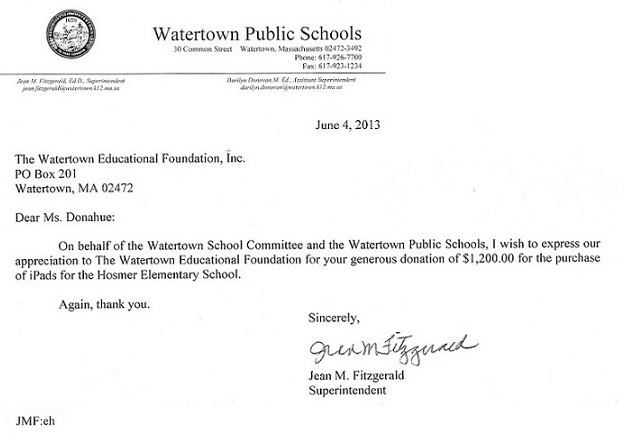 Superintendent, Jean Fitzgerald Thanks the Watertown Education Foundation: